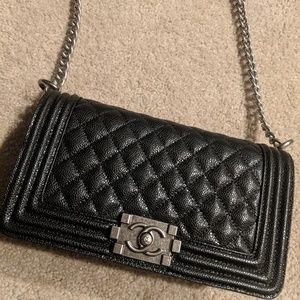 Handbags - Black caviar Boy handbag medium size